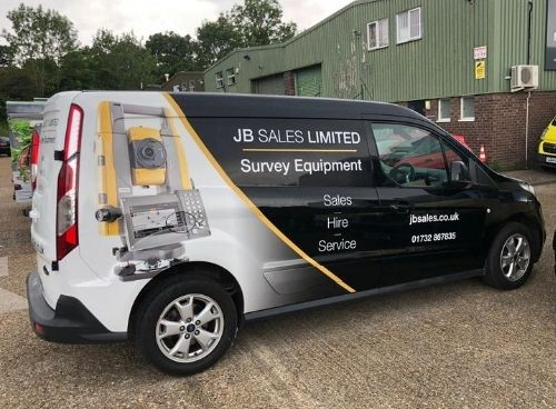 JB Sales wrapped van side view with service description