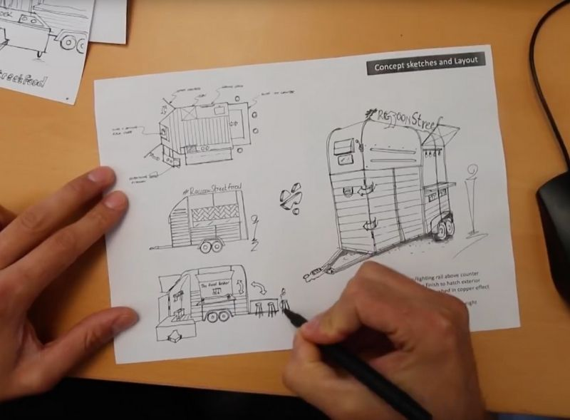 Creating sketches and concept designs for vehicle wraps and conversions