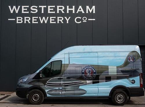 Westerham Brewery's Spitfire wrapped vans - a great example of offline marketing