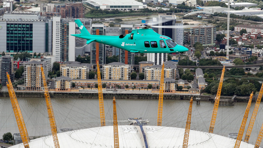 Deliveroo Roocopter flying above O2_Photography © Steve Parsons P A Media