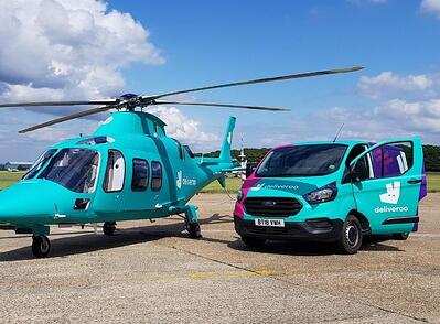 Deliveroo helicopter and van wrap
