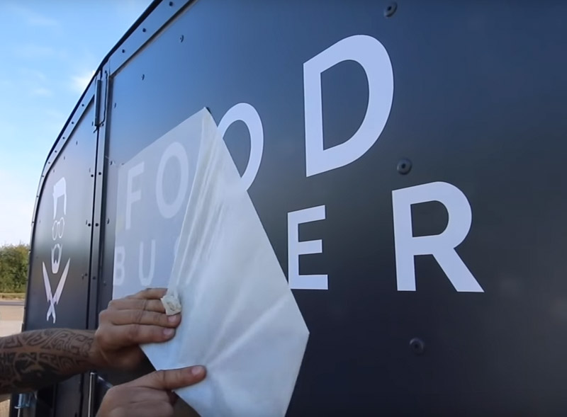 Applying decals to a vehicle for FoodBusker project
