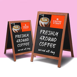 Chalkboard displays and pavement signs